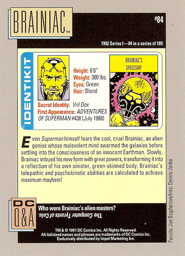 Cosmic Cards Brainiac B