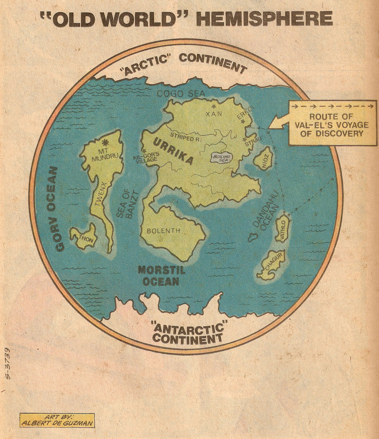 Map of Krypton- Old World Hemisphere