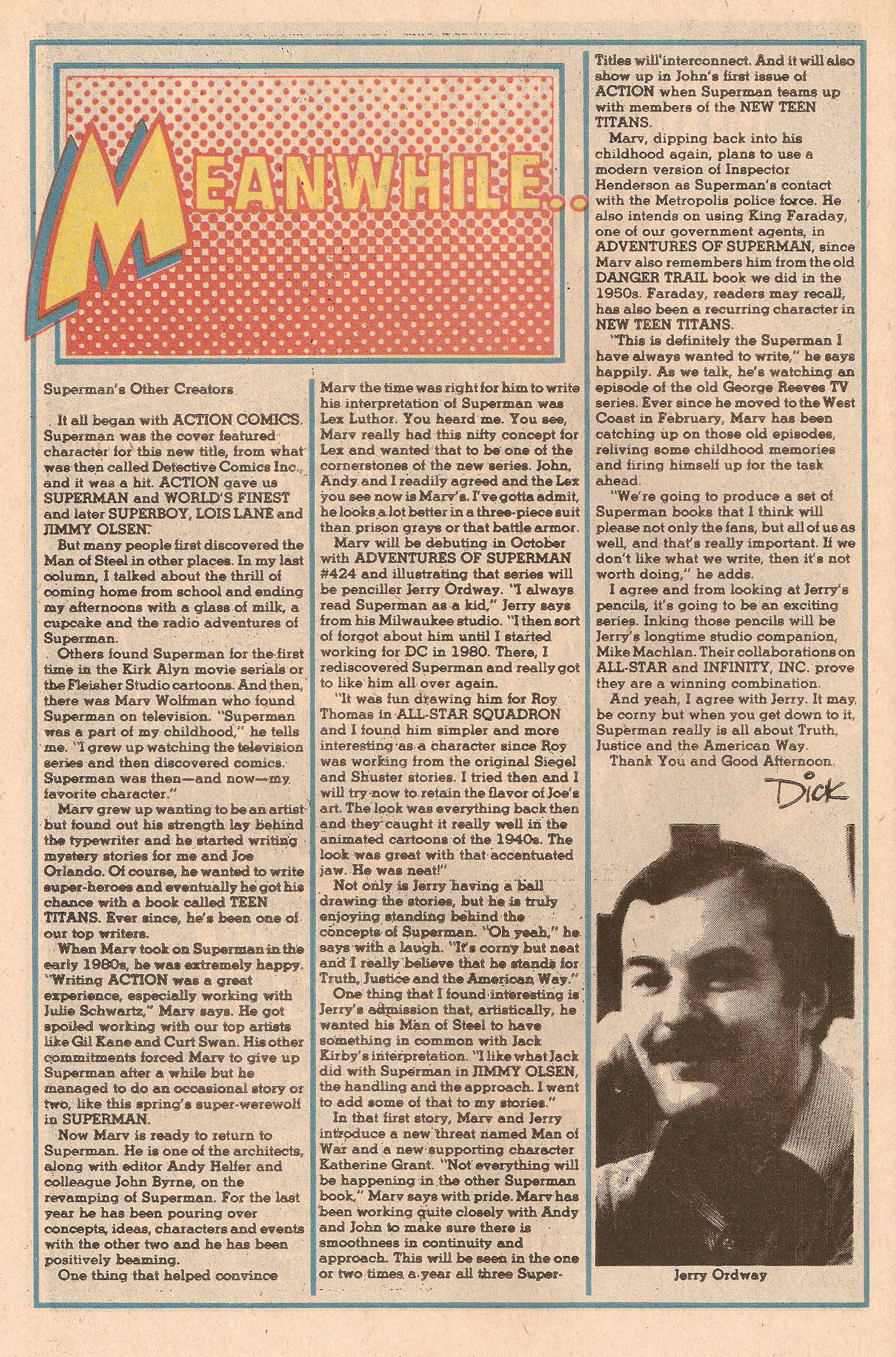 Meanwhile Column 1986 Jerry Ordway