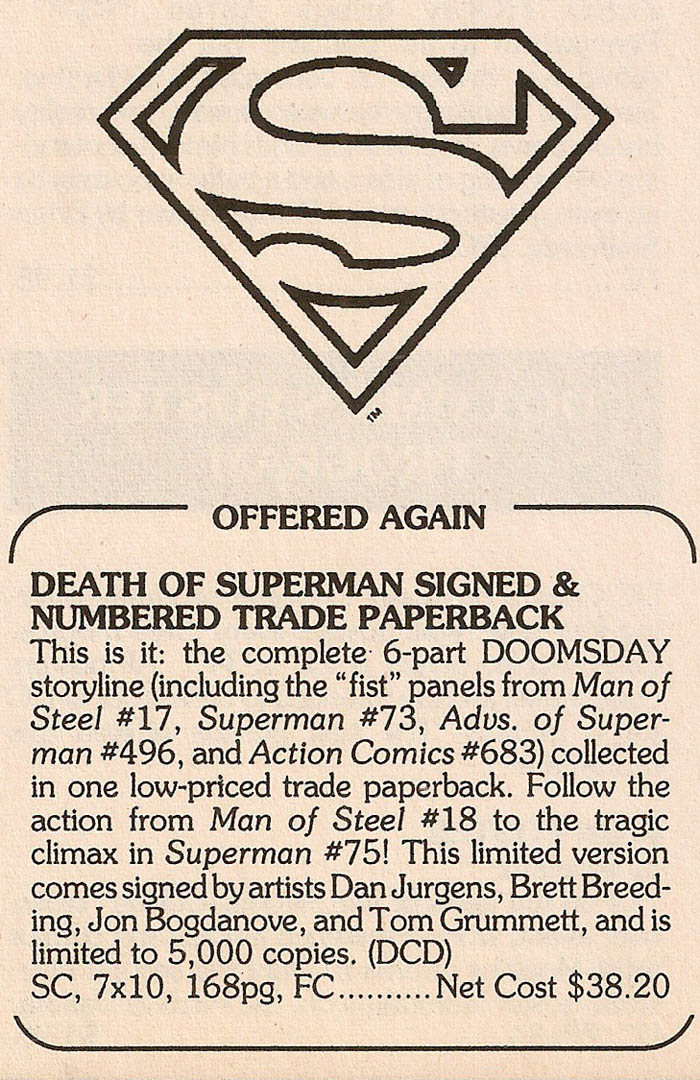 Solicitation- Death of Superman Signed Trade