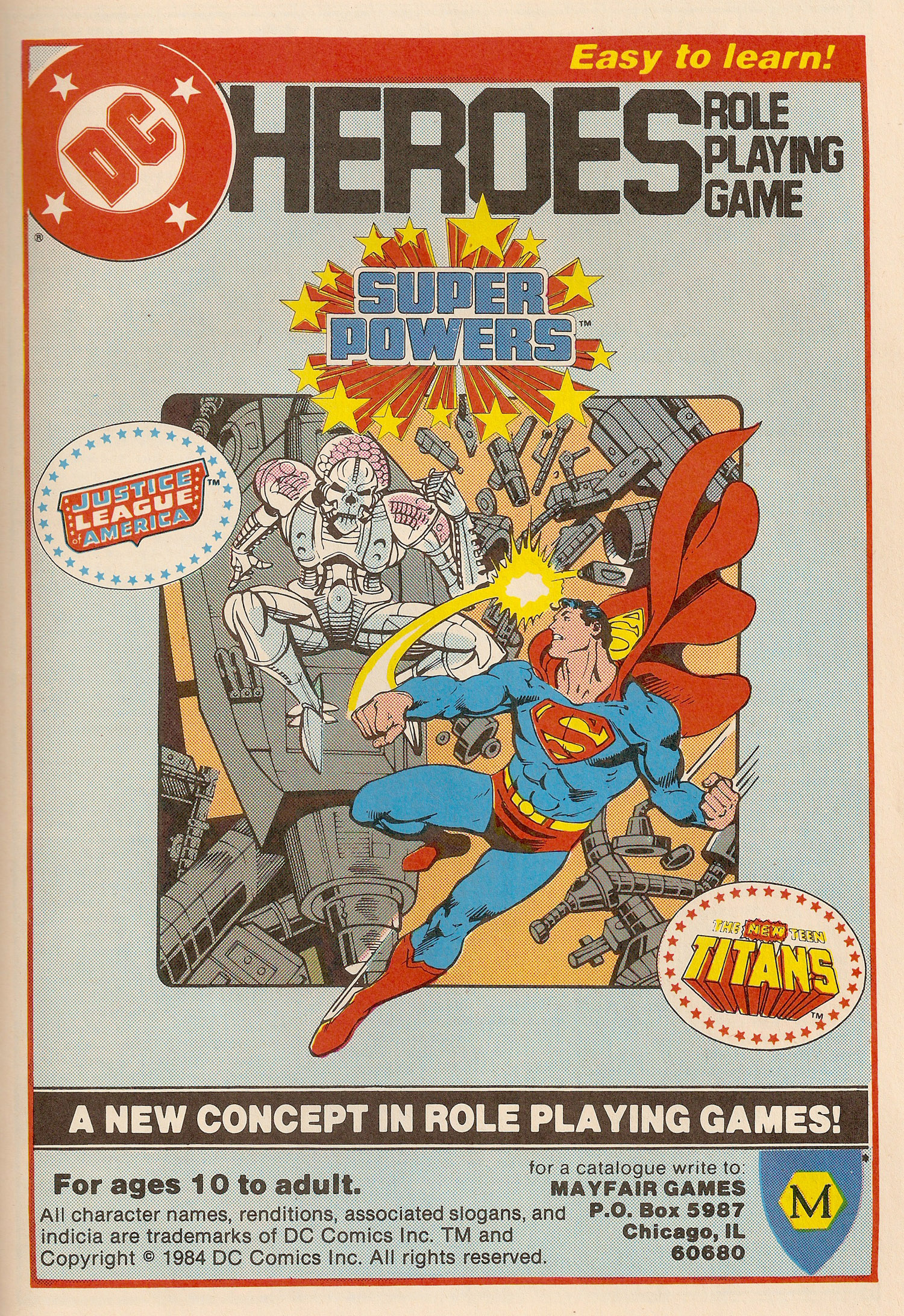 Ad- 1984 DC Heroes Mayfair