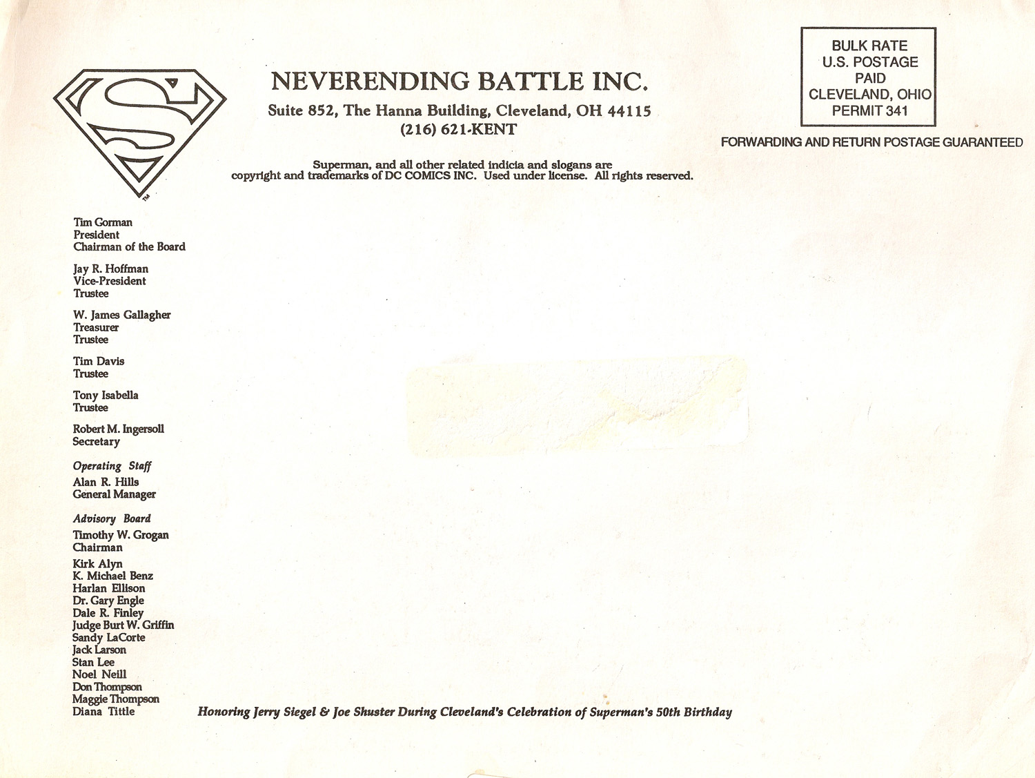 ACQUISITIONS – INTERNATIONAL SUPERMAN EXPOSITION ORDER FORM ...